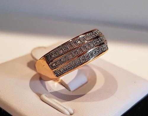 anel meia aliança 18k ouro goldfiled fileiras zirconia f1025