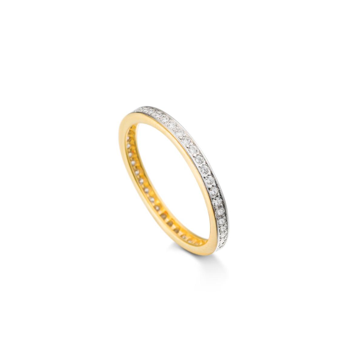 049edfa03b290 anel meia aliança aparador fino zircônias banho ouro 18k. Carregando zoom.