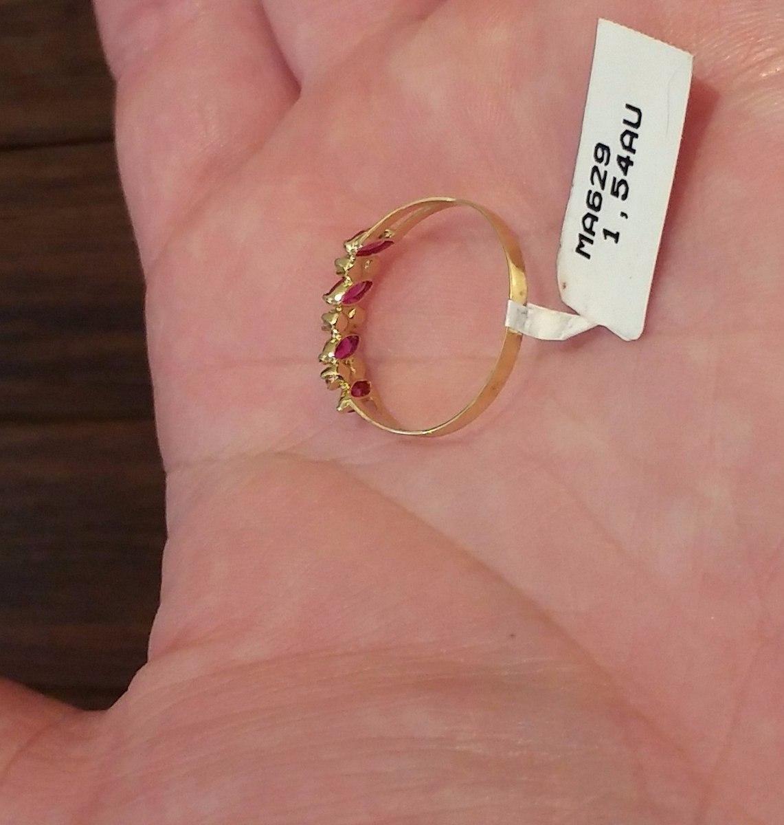 anel meia aliança aparador ouro 18k feminino rubi zirconia. Carregando zoom. bb36669dc4