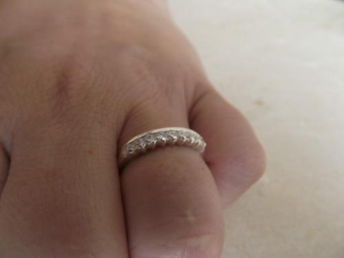 anel meia aliança aparador prata 925 maciça zircônia