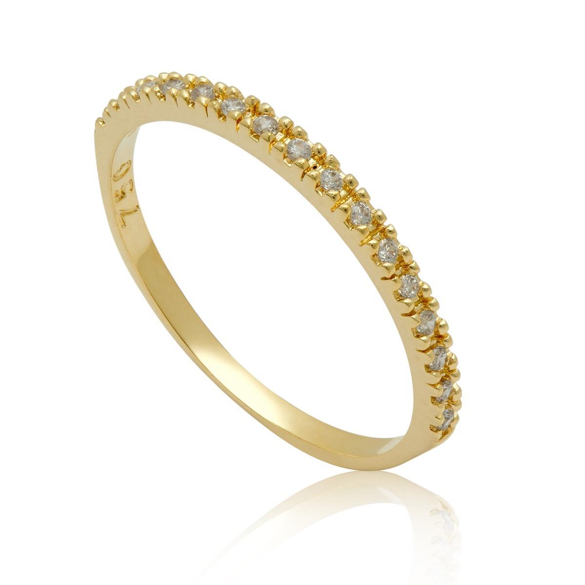 e05d5aa24ff47 Anel Meia Aliança Com Diamantes Em Ouro Amarelo - R  1.050,00 em ...