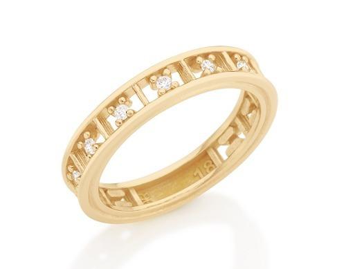 anel meia aliança detalhes quadrados rommanel 512096
