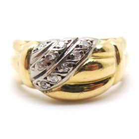 Anel Meia Aliança E Diamantes Naturais Ouro 18k