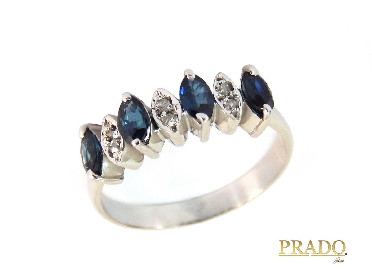 4d3e5c5e57764 anel meia aliança em ouro branco 18k safiras e brilhantes. Carregando zoom.