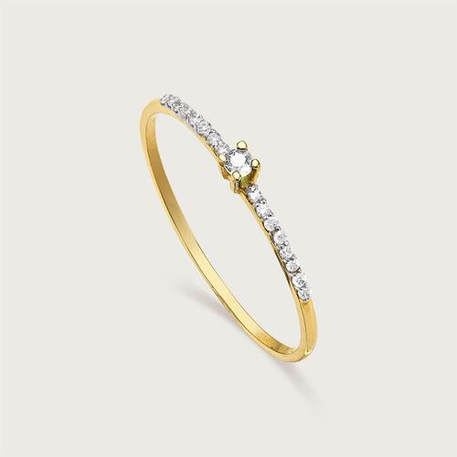anel meia aliança lulean em ouro 18k (750) com diamantes