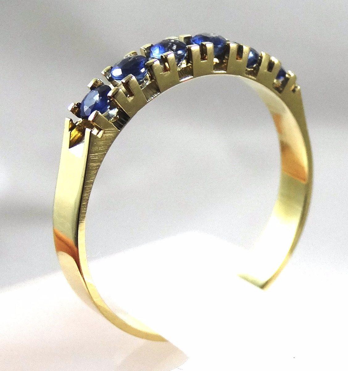 d3bfabbf71ea8 anel meia aliança ouro 18k com safiras redondas. Carregando zoom.