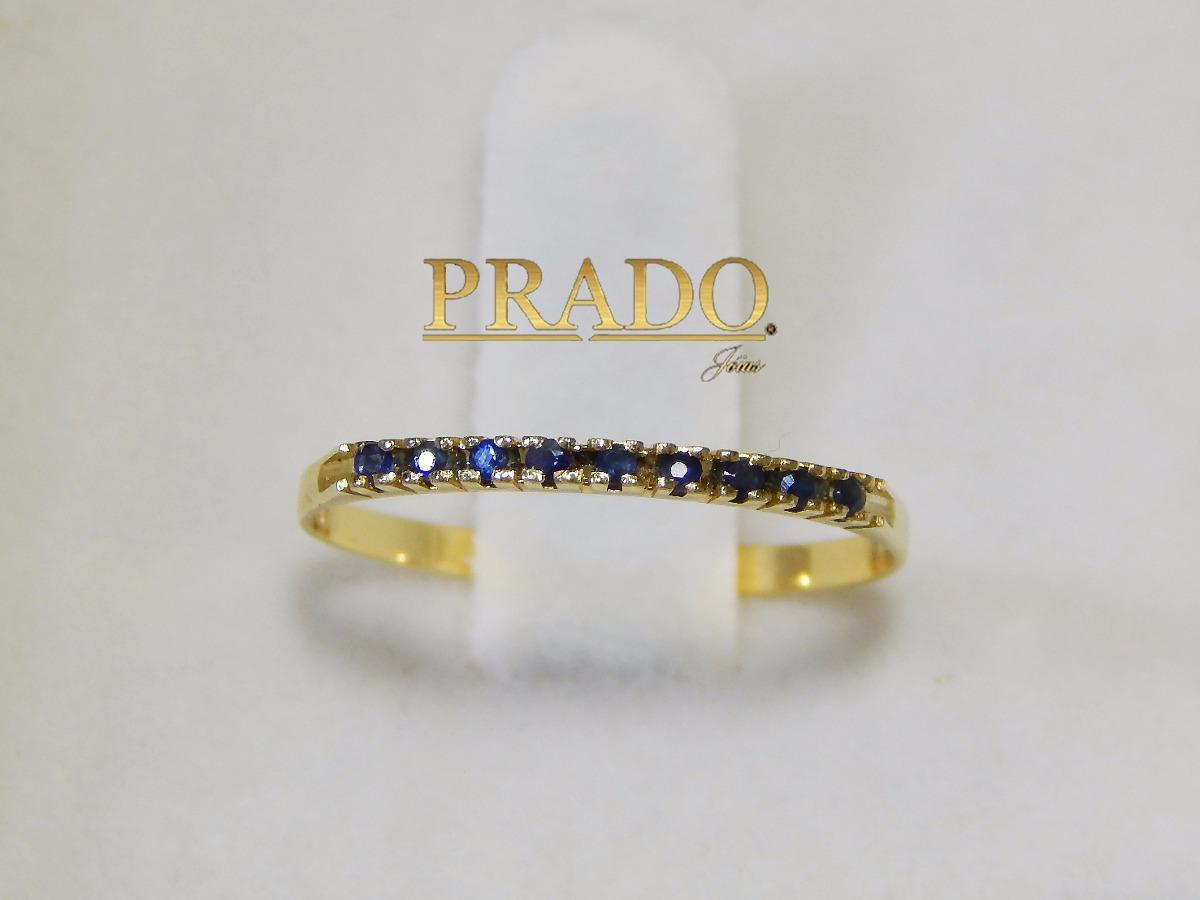 b209d0d699d7d anel meia aliança safira natural em ouro 18k + nota fiscal. Carregando zoom.