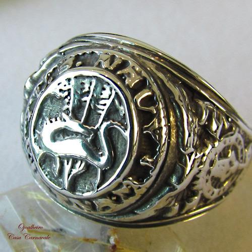 anel militar marinha mariners divisão dragões prata maciça