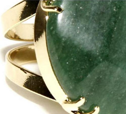 anel natural quartzo verde - banho ouro 18k - regulável