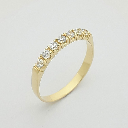anel  noivado em ouro 18k 750 feminino com zircônia aliança