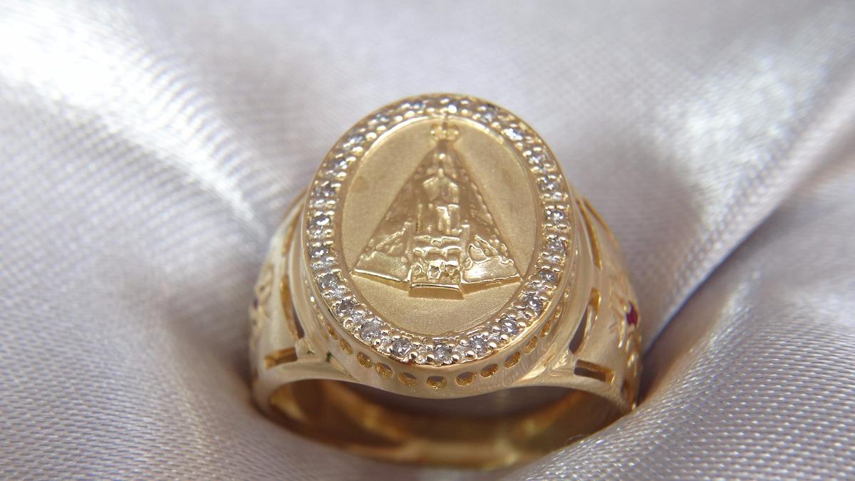 Nossa Senhora Aparecida Joias: Anel Nossa Senhora Aparecida De Ouro Com Rubi E Brilhantes