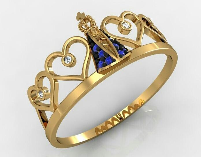 4d15b8328abf0 Anel Nossa Senhora Aparecida Ouro 18k - R  599,00 em Mercado Livre