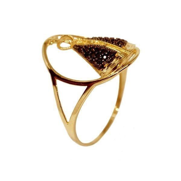 fdfdd80adcddf Anel Nossa Senhora Aparecida Ouro 18k Zircônias - Cod.2497 - R  702 ...