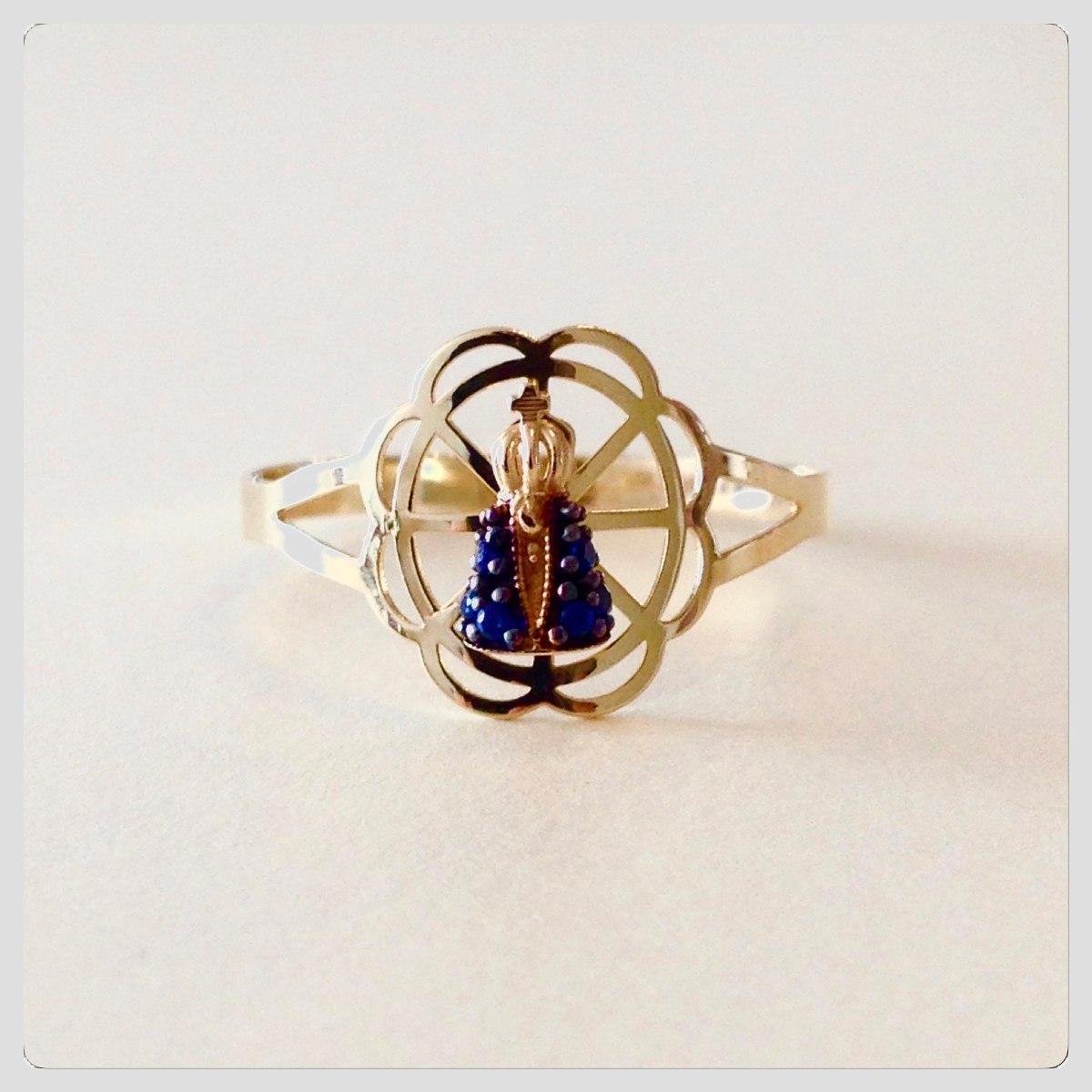 3b28093da09e8 anel nossa senhora aparecida zirconia safira ouro 18k. Carregando zoom.