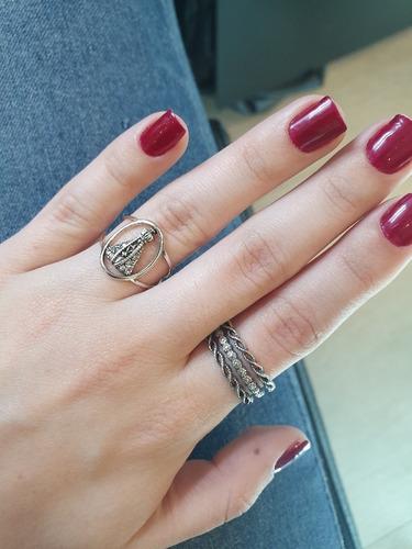 anel nossa senhora em prata 925 c garantia lj010