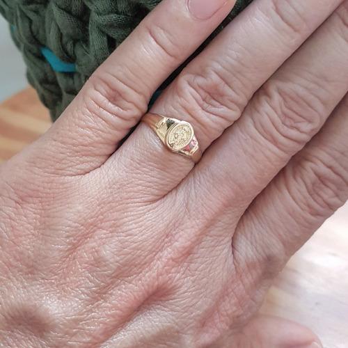 anel nossa senhora graças ouro 18k medalha milagrosa