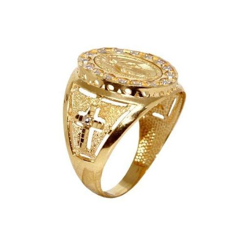 anel nossa senhora ouro 18k - código 9545