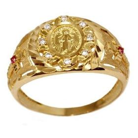 Anel Nossa Senhora Ouro 18k Zircônias - Código 13693