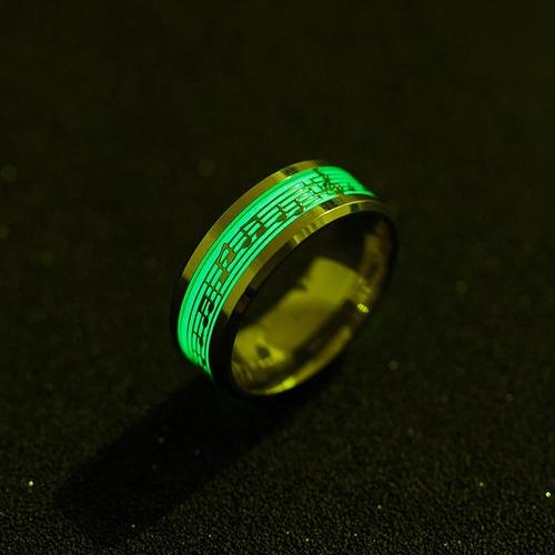 anel notas musicais florescentes de aço inoxidável