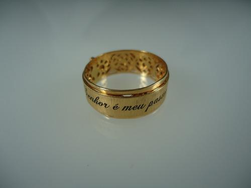 anel o senhor é meu pastor de ouro 18k jr joalheiro