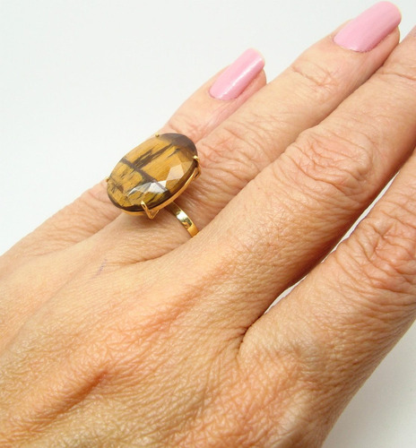 anel olho tigre natural ouro 18k