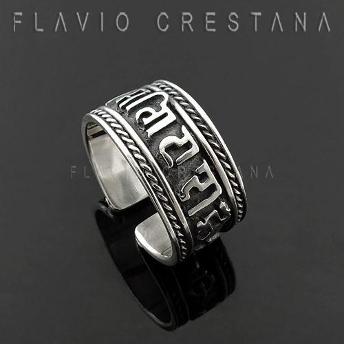 anel om tibetano ajustavel, prata 925, fabricacao propria -