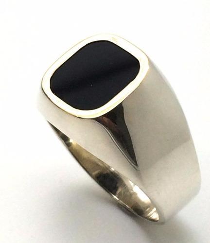 anel onix prata de lei 925 com ouro quadrado tradicional