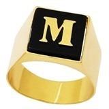 anel ouro 18k 750 amarelo e onix com letra inicial nome