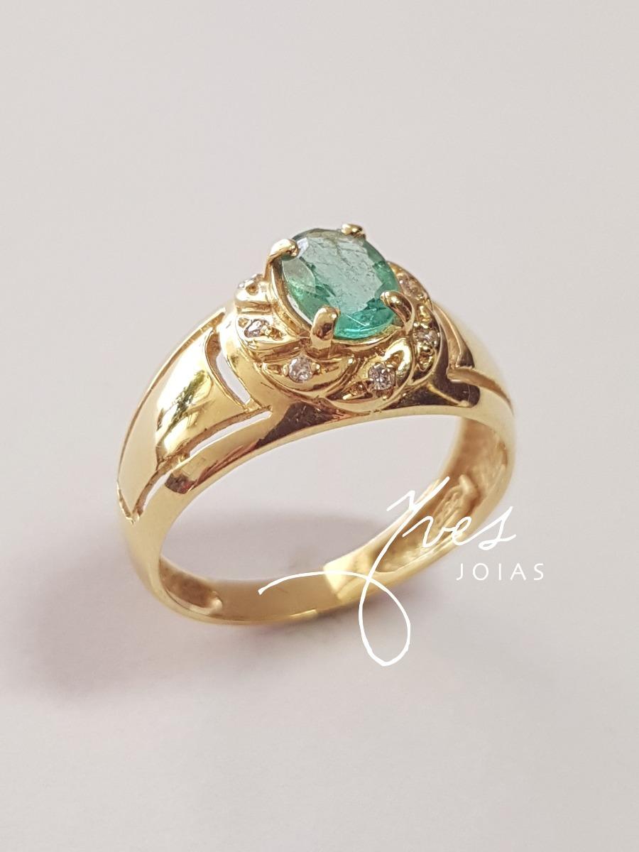 a6c4d113f9e31 anel ouro 18k 750 com diamantes e esmeralda frete grátis. Carregando zoom.