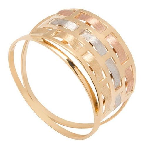 anel ouro 18k 750 entrelace tricolor - todos os aros + nf