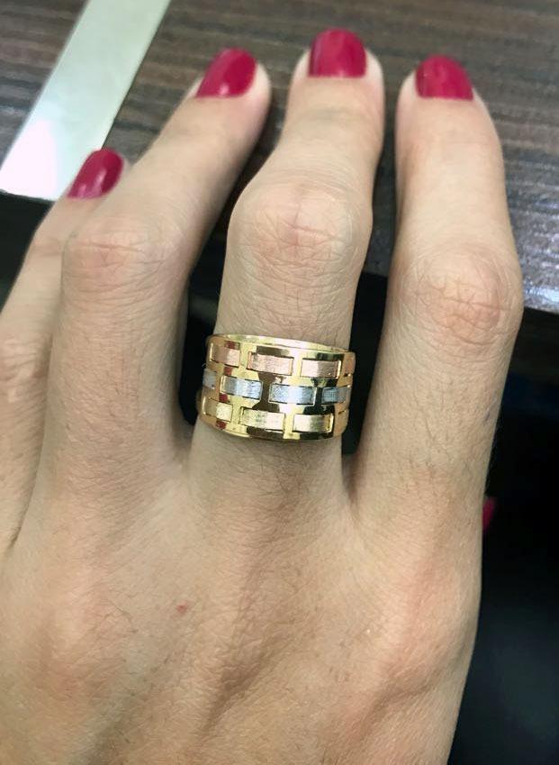 8035d93c6c5 anel ouro 18k 750 entrelace tricolor - todos os aros + nf. Carregando zoom.