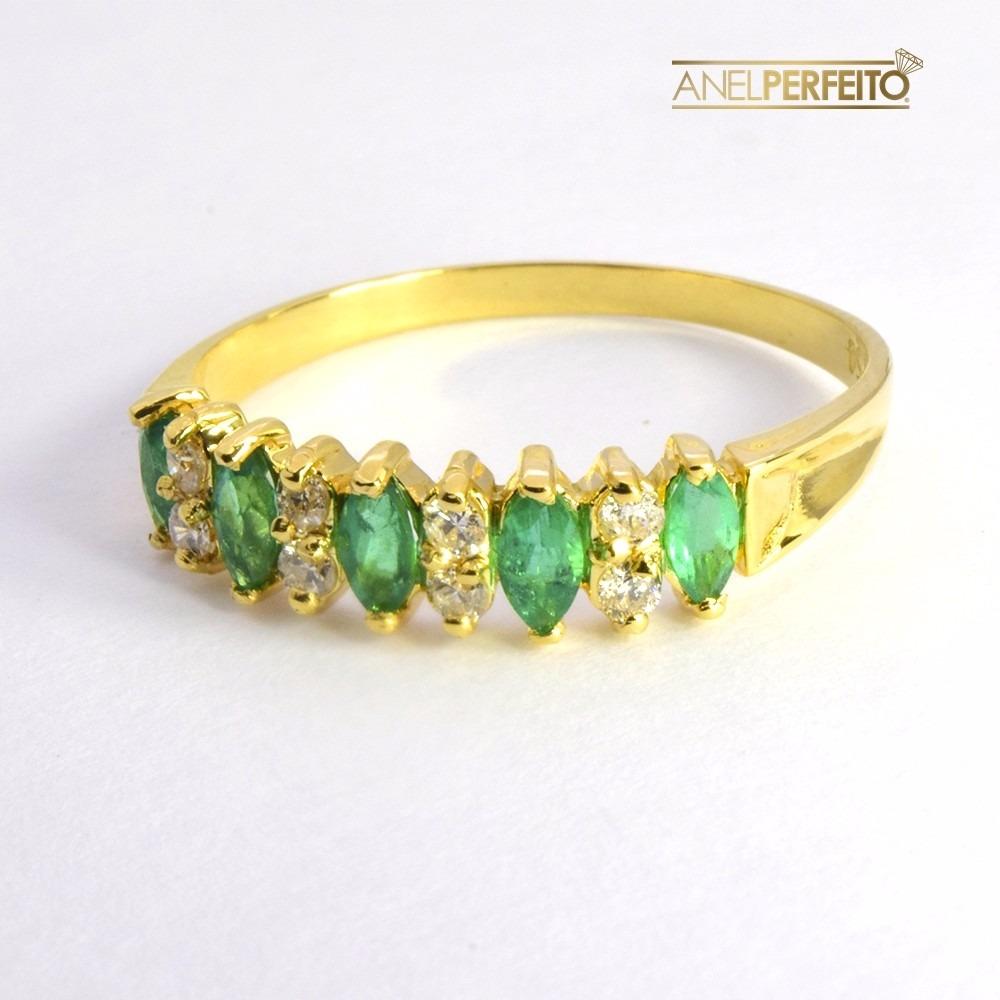 d9381d353cb1c anel ouro 18k 750 - meia aliança esmeraldas e diamantes. Carregando zoom.