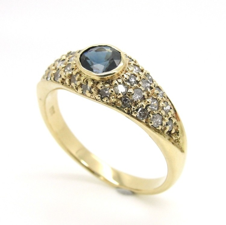 c831e04d865 Anel Ouro 18k - 750 Safira E 32 Brilhante Diamante - Ou00184 - R ...