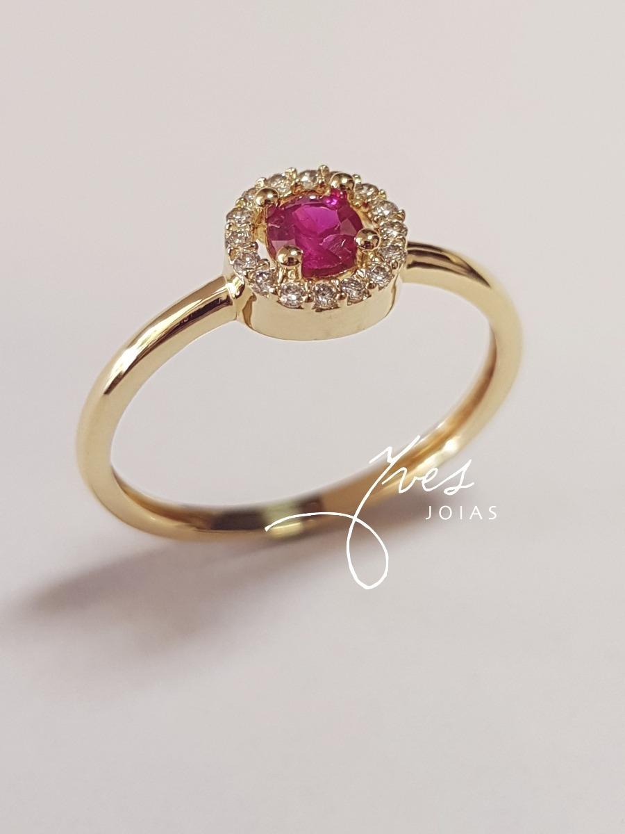 435b3d54b84 anel ouro 18k 750 solitário com diamantes e rubi. Carregando zoom.