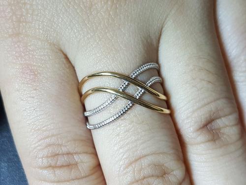 anel ouro 18k aros lisos e trabalhados em ouro branco