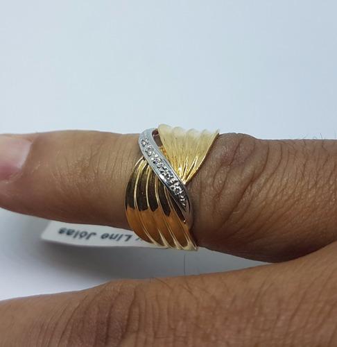 anel ouro 18k c/5 brilhantes verdadeiros detalhe ouro branco