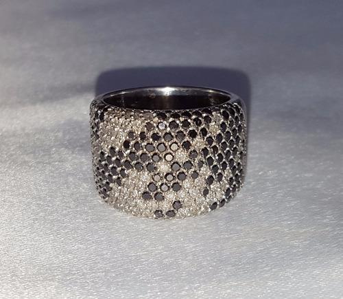 anel ouro 18k com 2,42ct diamantes brilhantes branco e negro