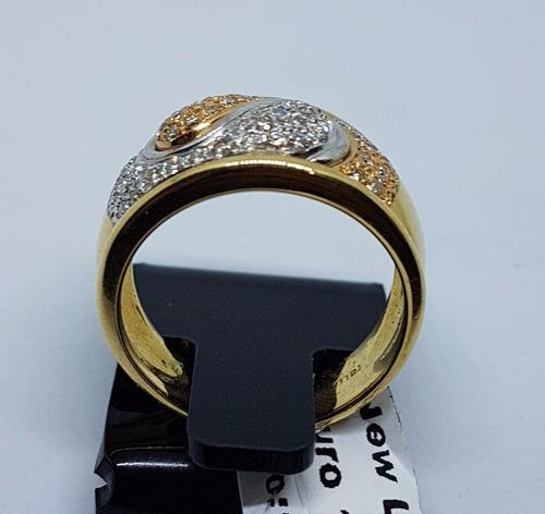 anel ouro 18k com brilhantes verdadeiros branco e rosê 11,3g
