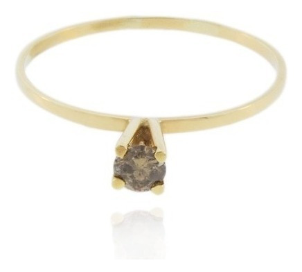 anel ouro 18k com diamante solitário chocolate mod. cj1034