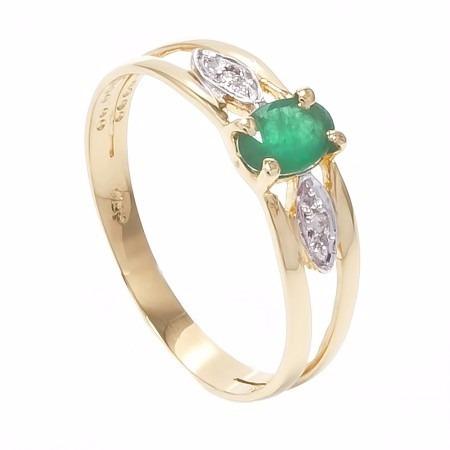 anel ouro 18k com esmeralda e diamantes mod. cj1113