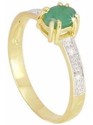 anel ouro 18k com esmeralda e diamantes mod. cj1370
