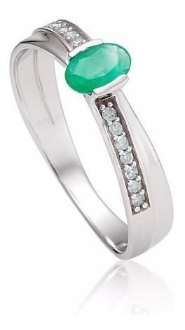 anel ouro 18k com esmeralda e diamantes mod. cj1376