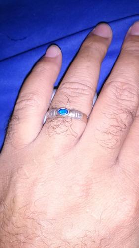 anel ouro 18k com pedrinha azul 4 grama