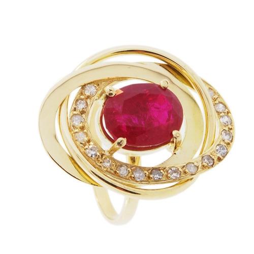 anel ouro 18k com rubi e diamantes mod. cj1002