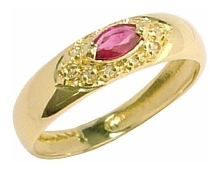 anel ouro 18k com rubi e diamantes mod. cj1020