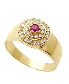 anel ouro 18k com rubi e diamantes mod. cj1021
