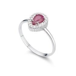 anel ouro 18k com rubi e diamantes mod. cj1108