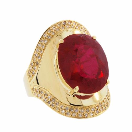 anel ouro 18k com rubi e diamantes mod. cj1213