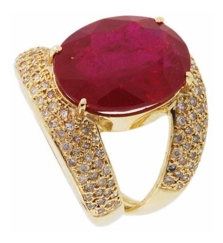anel ouro 18k com rubi e diamantes mod. cj1217