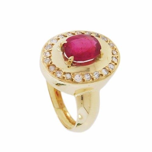 anel ouro 18k com rubi e diamantes mod. cj1224